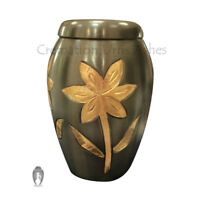 Small Funeral Urns Keepsake, Majestic Lilies Black Memorial Keepsake Urn Ashes
