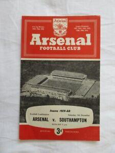 Football Programme Arsenal Res v Southampton Res 1959/60