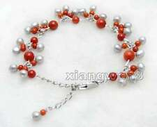 Small 5-6mm Round Gray Natural Pearl with 3-6mm Red Coral 7-9'' bracelet-bra384