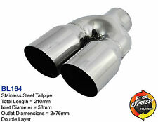 Exhaust tips tailpipes trims dual 76mm double layer for BMW VW Peugeot BL164