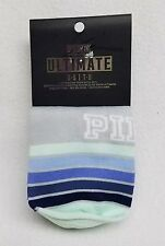 2 PAIRS Victoria's Secret Pink MINT BLUE STRIPE No-Show Ultimate Ankle Socks