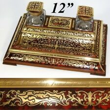 """RARE Antique French J.C. Vickery Marked Boulle 12"""" Inkstand or Double Inkwell"""