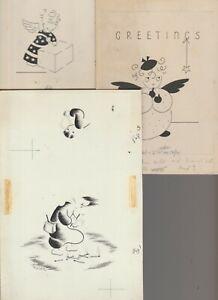 "CHRISTMAS Eskimo & angels w/ Star & Present 5.5x8.5"" Greeting Card Art LOT of 3"