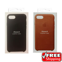 NEW 100% Genuine Apple ORIGINAL Soft Leather Case Cover iPhone 7 & 8 Black Brown