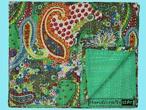 Indian Handmade Coverlet 100% Cotton Bedspreads Twin Size Kantha Quilt Blanket