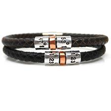 Leather Personalised Coordinates Bracelet, Latitude Longitude Bracelet