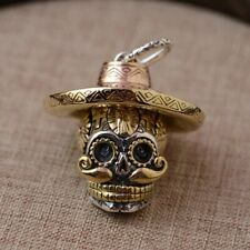 925 STERLING SILVER MEXICAN SKULL PENDANT NECKLACE DAY OF THE DEAD  *UK STOCK*