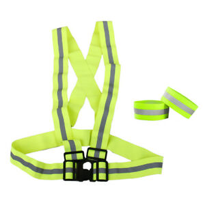 Reflective Arm Band Hook Loop Safety Bands For Cycling Walking Running S1I0