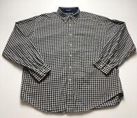 Tommy Hilfiger Men Blue Multi Color Plaid Long Sleeve Button Down Shirt XL Crest