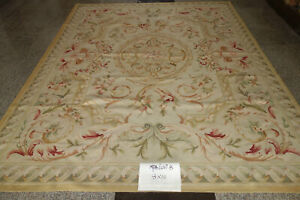 Vintage Hand Knotted Aubusson Wool Carpet Colorful Swirls French Country Floral