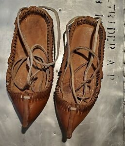 Traditional woman's leather shoes opanci from Bulgaria