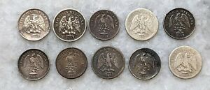 Lot of 10 Mexico 5 Centavos Silver Coins. Mix of Dates and Mints. Cool Lot!