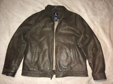 CHAPS Brown Leather Jacket Size Large
