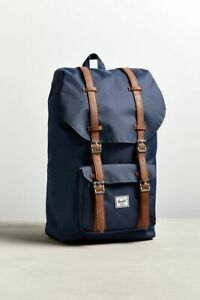 """Herschel Supply Co Little America Backpack Navy Brown Leather 25L 15"""" Laptop NEW"""