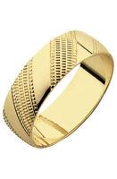 9ct Gold Diamond Cut Commitment Wedding Ring 6mm Size Q Hallmarked