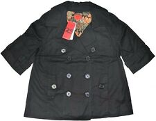 Junior Women Cotton Black Trench Peacoat Jacket Lined 3/4 Sleeve QS by s.Oliver