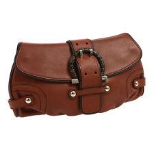 Auth Salvatore Ferragamo Gancini Clutch Hand Bag Brown Leather Vintage 804437