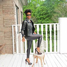 New designer Jocelyn Shiny Black Patent leather demi Trench Coat jacket S 0-6
