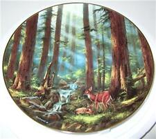 "RUDI REICHARDT DEER PLATE ""SUNLIT RETREAT"" GOD BLESS"