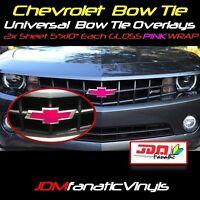 "2-5""x10"" High Gloss PINK BowTie Emblem Overlays Decal Vehicle Wrap Universal KIT"