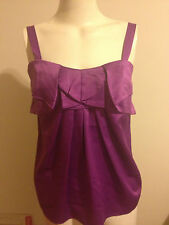 Events Satin Scallop Cami Top Cerise Purple Berry Evening Singlet Tank Sateen XS