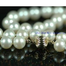 AAA- Freshwater 8-9mm White Pearl Necklace 14ct Gold Clasp