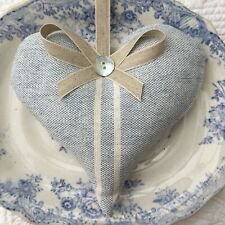1 SUSIE WATSON BLUE IVORY VINTAGE STRIPE Lavender Filled Fabric Heart