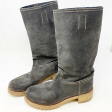 VTG Prada Suede Mid Calf Boots Stacked Heel Dark Charcoal Gray Size 37.5 US 7