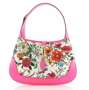 Gucci Jackie Hobo Flora Canvas with Leather Medium
