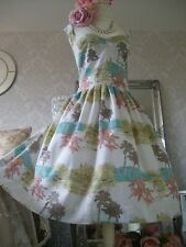Monsoon size 18 linen/cotton 50's inspired fit flare dress