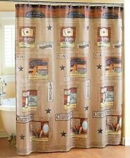 Country Bath Shower Curtain Vintage Style 72 Inch Square Polyester Tan Brown