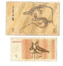 LITHUANIA 2x1 TALONAS Banknote 1991-1992