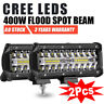 2x 7inch CREE LED Work Light Bar Spot Flood OffRoad Fog Driving 4WD 4x4 Reverse