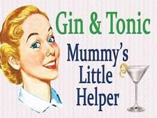 Gin & Tonic Mummy's Little Helper Funny Vintage Retro Gift Novelty Fridge Magnet