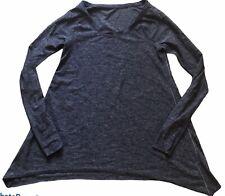 LULULEMON Rehearsal Long Sleeve Top Heathered Black Swan Size 10/12 Dance EUC