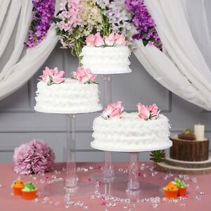 CAKE STAND 3 Tiers Clear Cupcakes Wedding Birthday Party Catering WHOLESALE
