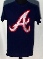 Atlanta Braves MLB Baseball Team Colors Plaid Style Logo Medium Blue T-shirt