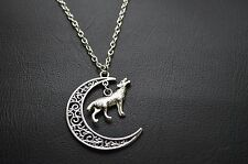 "A Crescent Moon & Wolf Tibetan Silver Charm Amulet Pendant 30"" Chain Necklace"