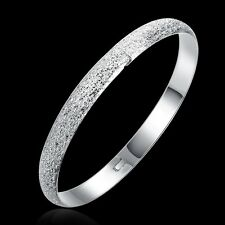 Classic  925 Sterling Silver Stamped Round Golf Dusty Bangle Bracelet BN-A254