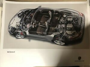 RARE AWESOME FACTORY  Porsche Poster 2004 911 S Cutaway