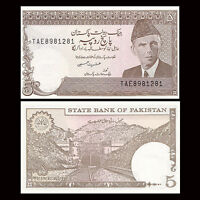 Pakistan 5 Rupees Banknote, ND(1983-84), P-38, with Holes, UNC, Asia Paper Money