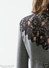 Zara size L 40 42 laine tricot veste dentelle cardigan wool Knit Jacket Lace détail