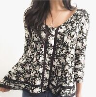 Maeve Anthropologie Sz 4 Pintuck Crochet Lace Floral Print Peasant Top Blouse S