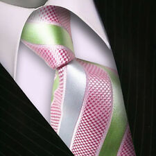 One Classic Striped WOVEN JACQUARD Silk Men's Suits Tie Necktie Pink Green M075