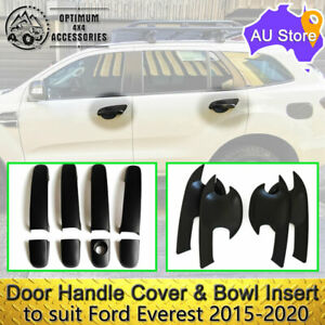 Black Door Handle Cover & Bowl Insert Protectors to suit Ford Everest 2015-2020