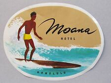 1950's original vintage MOANA HOTEL HONOLULU Surfer luggage sticker