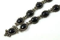 Vintage Mid-century 925 Sterling Silver and Black Onyx Links Filigree Necklace