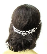 Silver Ivory Pearl Bridal Headpiece Hair Vine Headband Diamante Rhinestone 1850