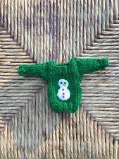 Snowman Ornament, Handmade Mini Sweater Christmas Ornament w Snowman Applique
