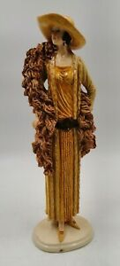 "UNBRANDED Art Deco 30's Lady Figurine Resin Pottery? 13"" tall Brown Orange Glaze"